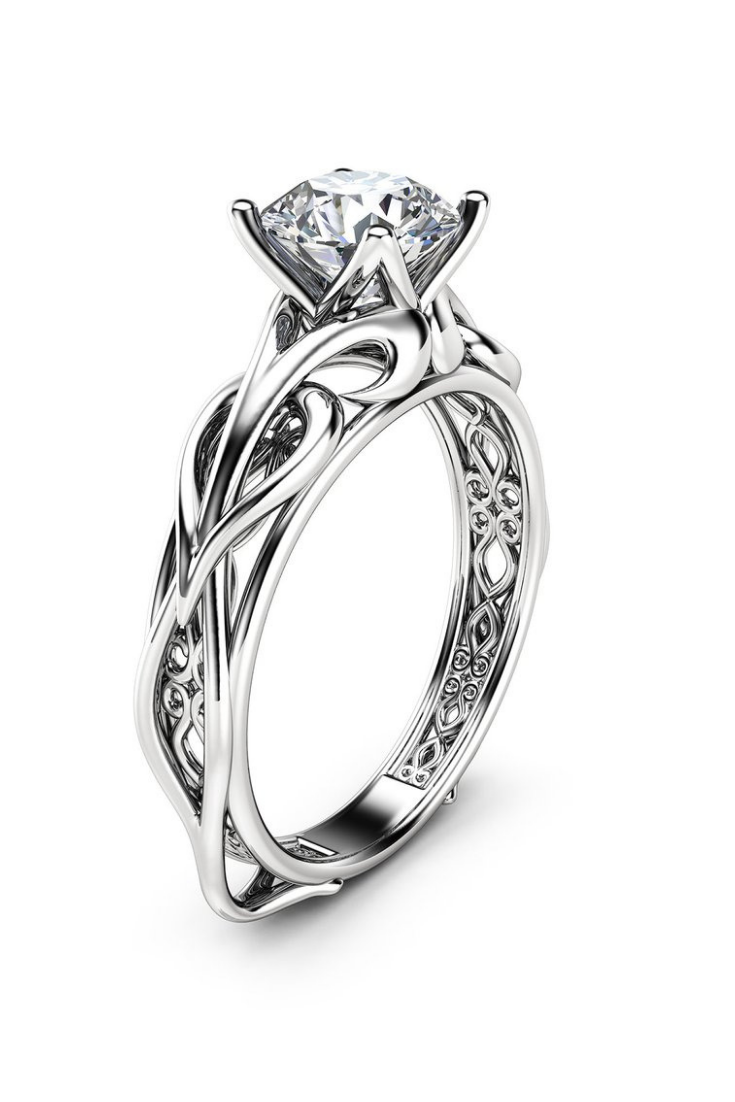Solitaire Moissanite Engagement Ring 14K White Gold Moissanite Ring Swirl Design Engagement Ring.png