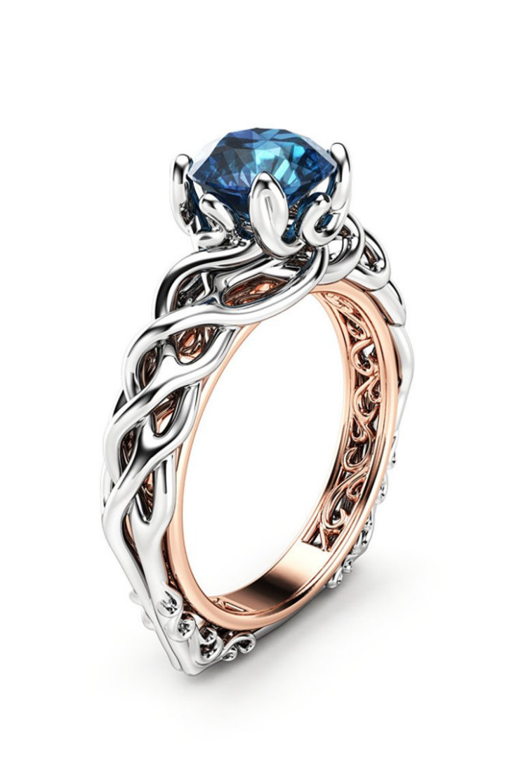 Blue Diamond Engagement Ring 18K Two Tone Gold Blue Diamond Engagement Ring.png