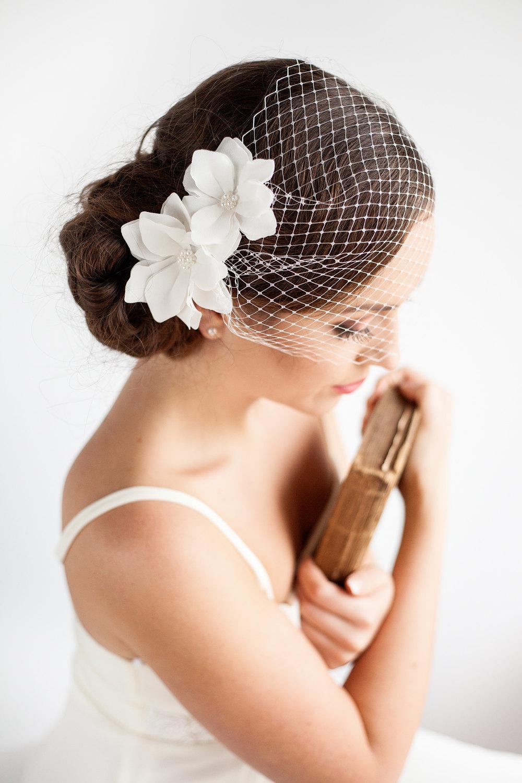 Birdcage Veil with Flowers  Bandeau   Wedding Mini Veil  Magnolia Flower  Wedding Hair Accessories.jpg