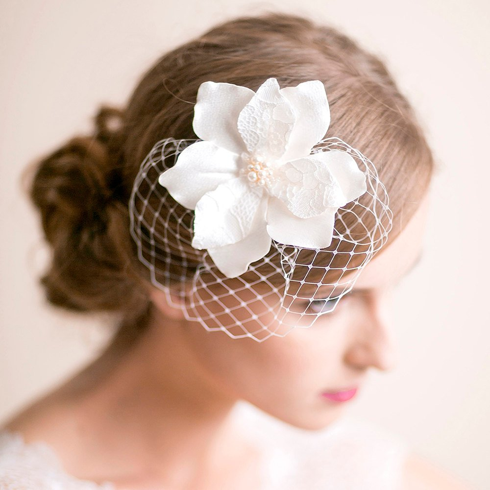 Bridal Fascinator with Magnolia Flower Bridal Headpiece Birdcage Fascinator Wedding Hair Accessories Floral Hairpiece.jpg