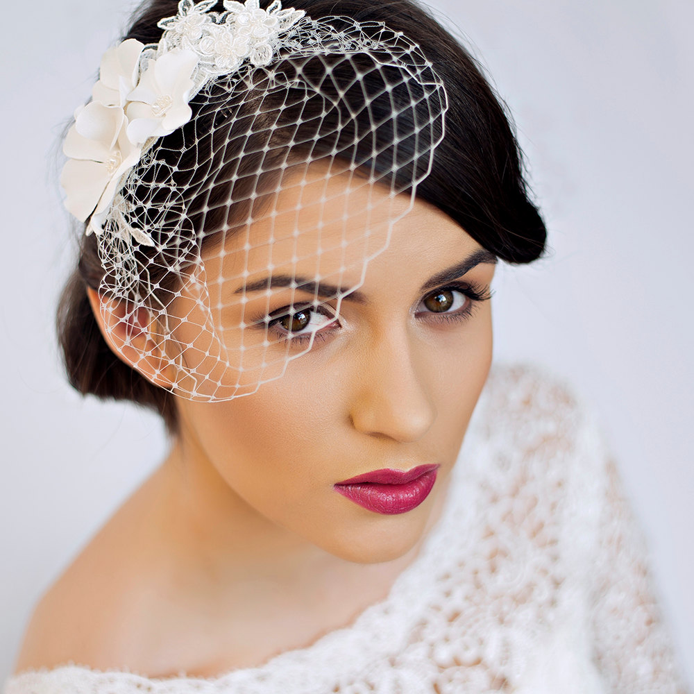Small Birdcage Veil with Cherry Blossom in Ivory Bridal Hair Piece Wedding Hair Piece.jpg