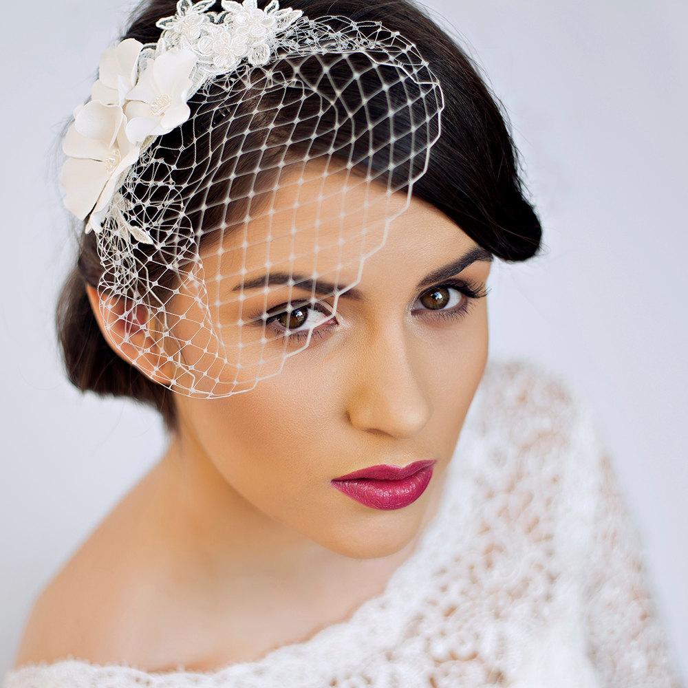 Small Birdcage Veil with Cherry Blossom in Ivory Bridal Hair Piece Wedding Hair Piece.jpg