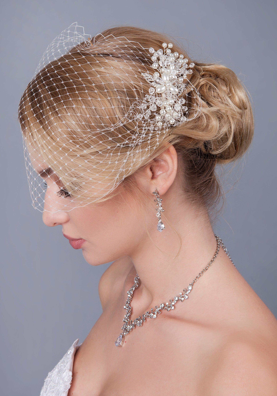 Birdcage Veil with Petunia Bridal Headpiece Wedding Hair Pin Hair Vine Bridal Hair Comb Crystal Pearl,Bridal veil Head Piece hair.jpg