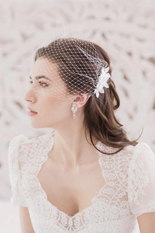 Flower Bandeau Wedding Veil, Bandeau veil, Wedding veil, Bridal veil, Face veil, Ivory veil, White veil, Bridal Accessories, Russian netting.jpg