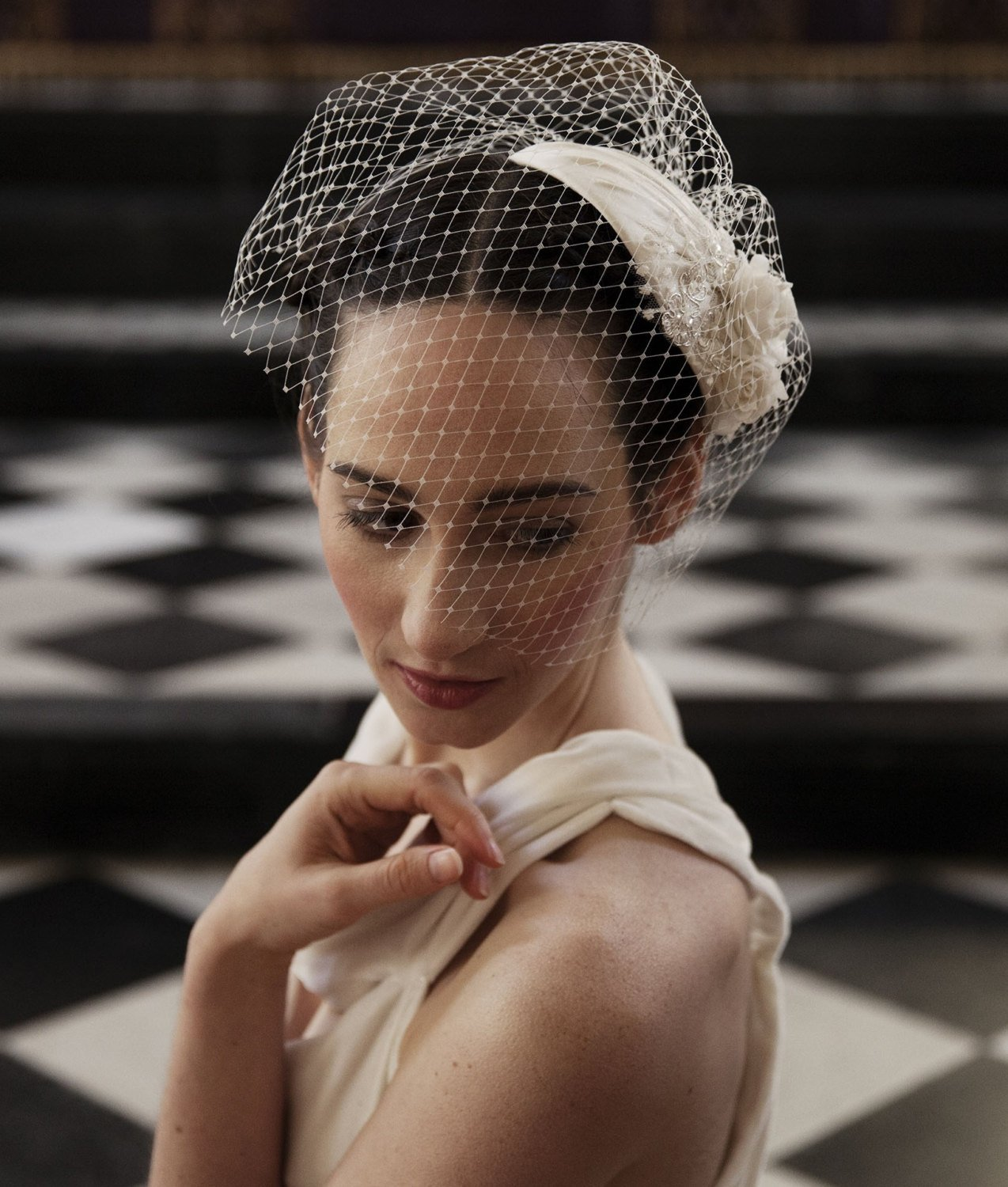 Ivory Wedding Headpiece with detachable birdcage veil and flower and lace details -for 1940s, 1930s style wedding dress -Agnes Hart UK.jpg