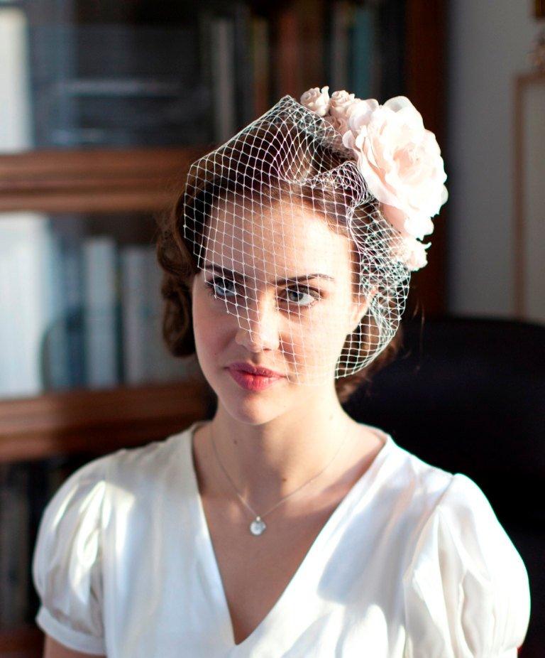 Birdcage Veil and Silk Flower Fascinator - Vintage Bride - 1940s Bridal Veil - Pink Hair flower.jpg