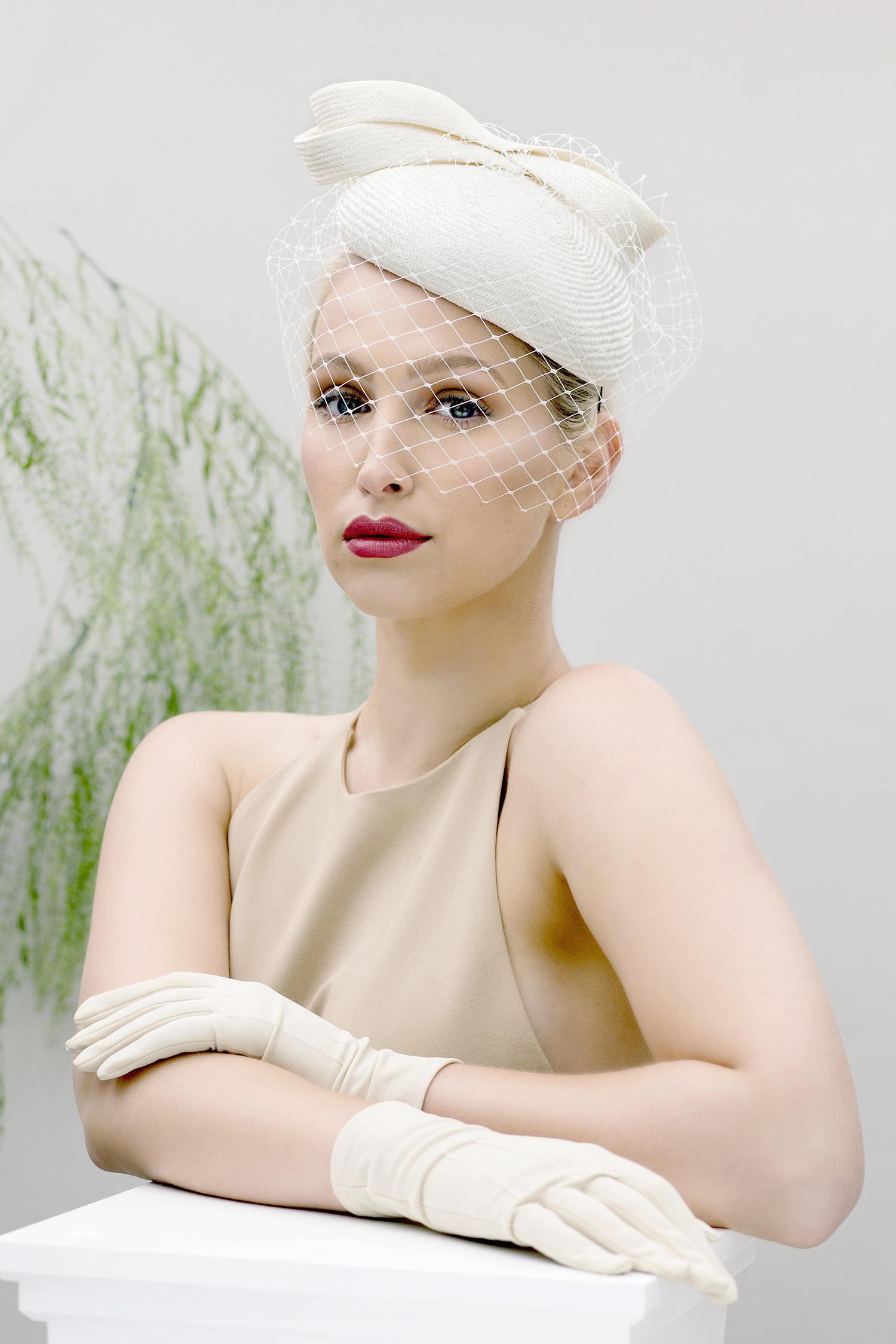 Birdcage Veil Bridal Hat, Summer Wedding Headpiece, Veiled Ivory Perch Hat.jpg
