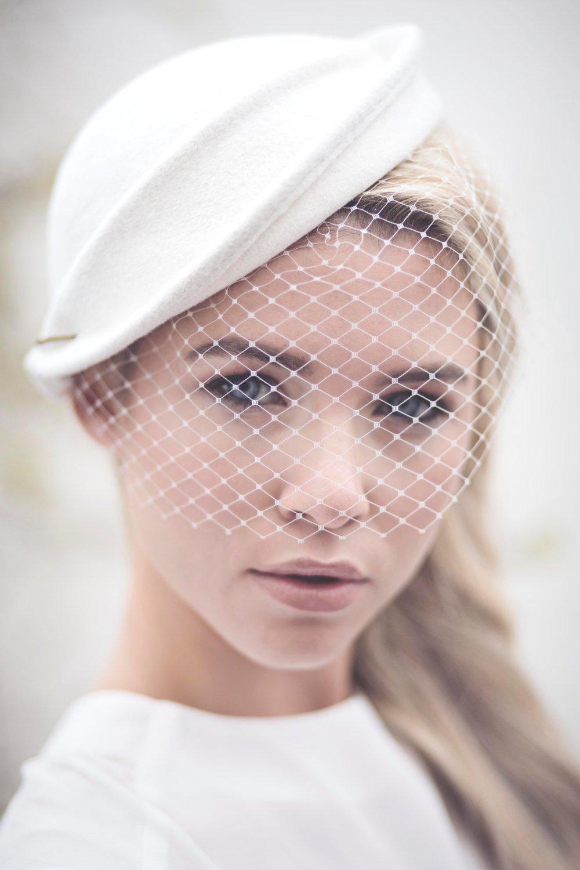 Wedding Birdcage Veil Hat, Off White Felt Bridal Hat, Percher, Fascinate.jpg