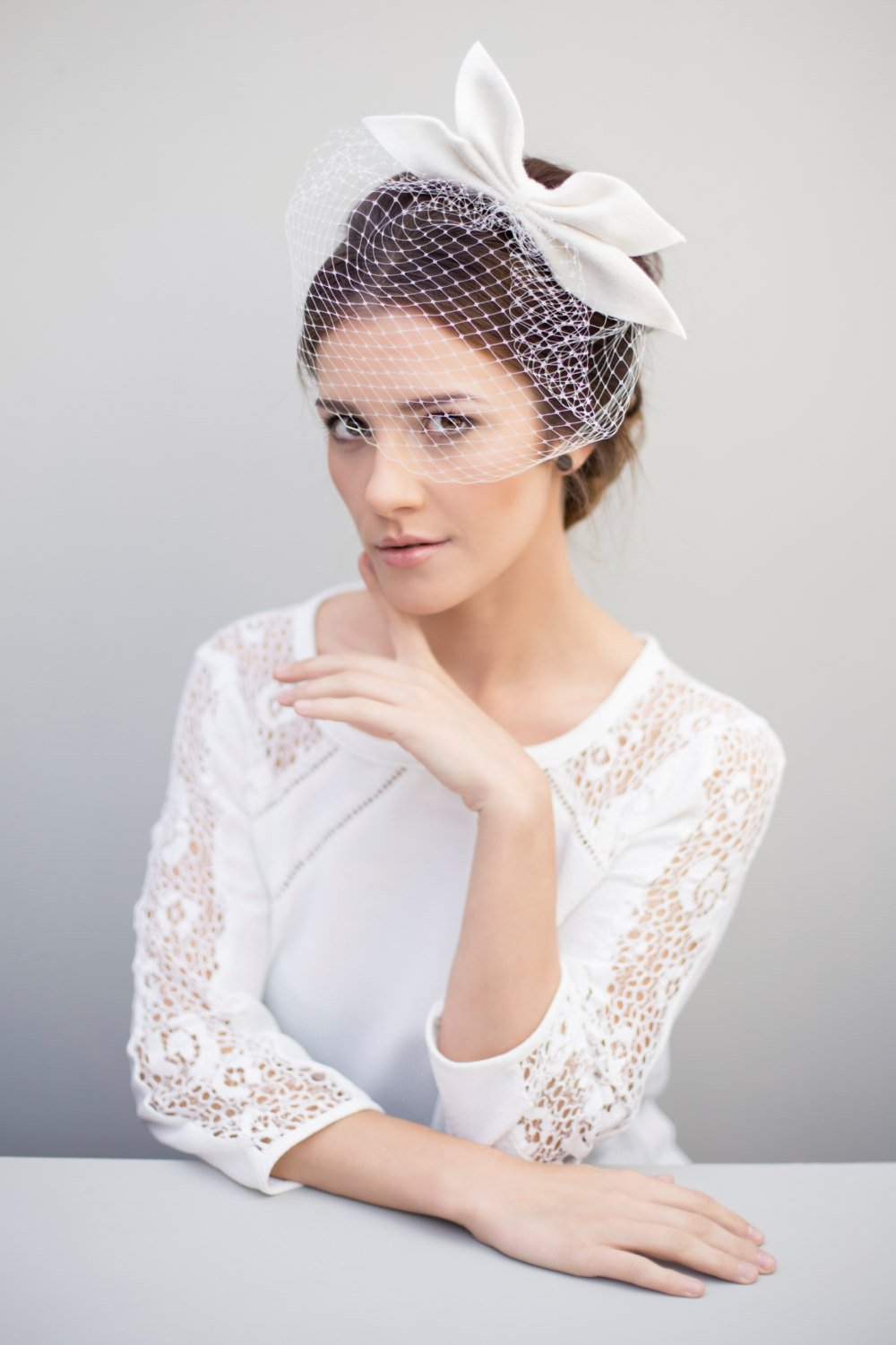Birdcage Veil, Bridal Fascinator, Wedding Bow Headpiece, Veils for Brides.jpg