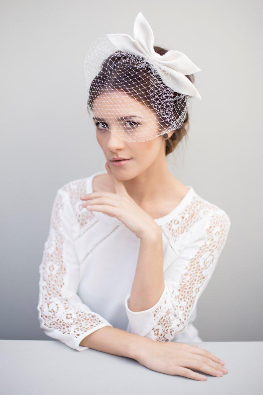 Birdcage Veil, Bridal Fascinator, Wedding Bow Headpiece, Veils for Brides.jpg