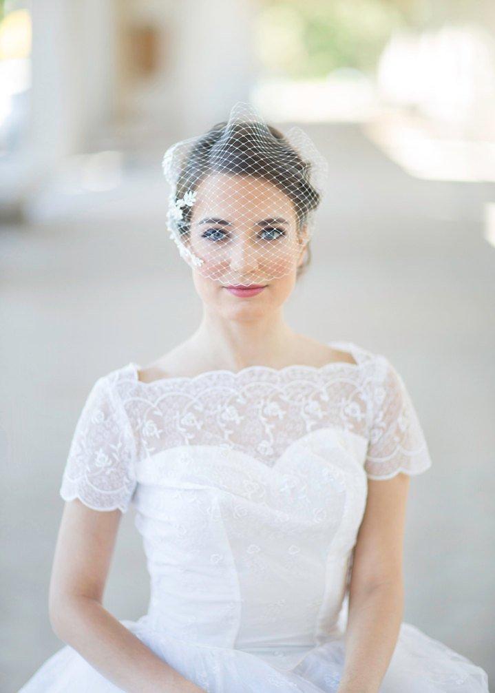 Bridal birdcage veil, bandeau veil, wedding birdcage veil, embroidered bridal veil lace.jpg