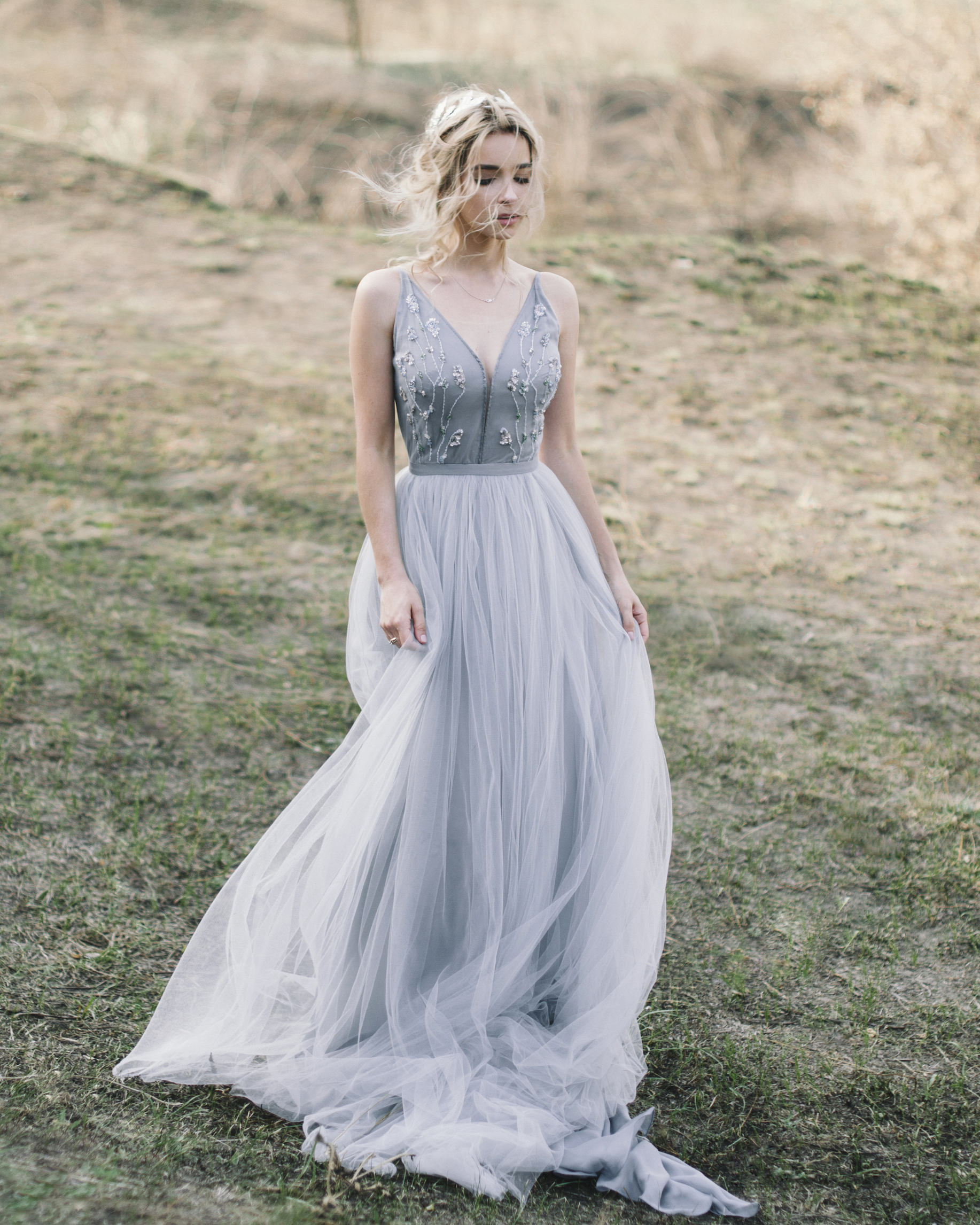 Tulle wedding gown Blue and gray wedding gown.jpg