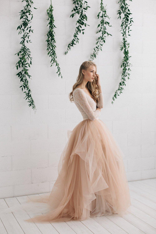 Two Piece Wedding Dress, Bridal Separates, Blush Bridal Tulle Skirt , Ombre Wedding Skirt.jpg