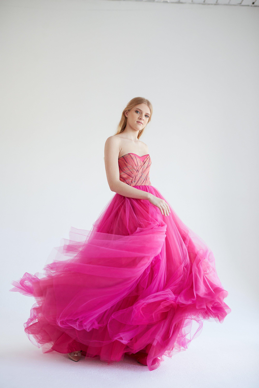 Raspberry evening dress, tulle dress, bridesmaid dress, prom dress, long evening gown, ball.jpg