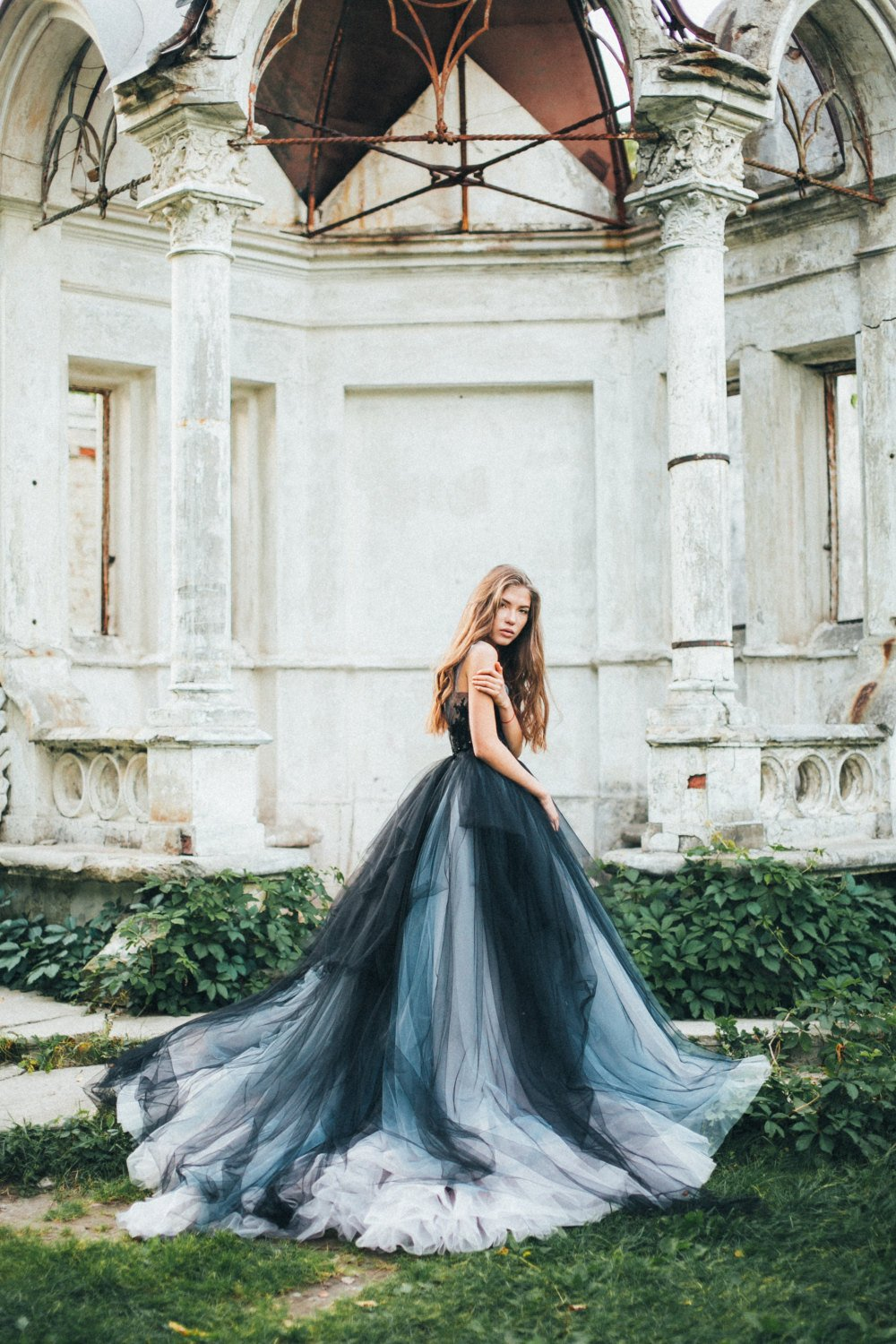 Tulle wedding dress Calypso Nightfall Black bridal gown, lace bridal gown, embroidered lace top, open back dress, ball gown, navy.jpg