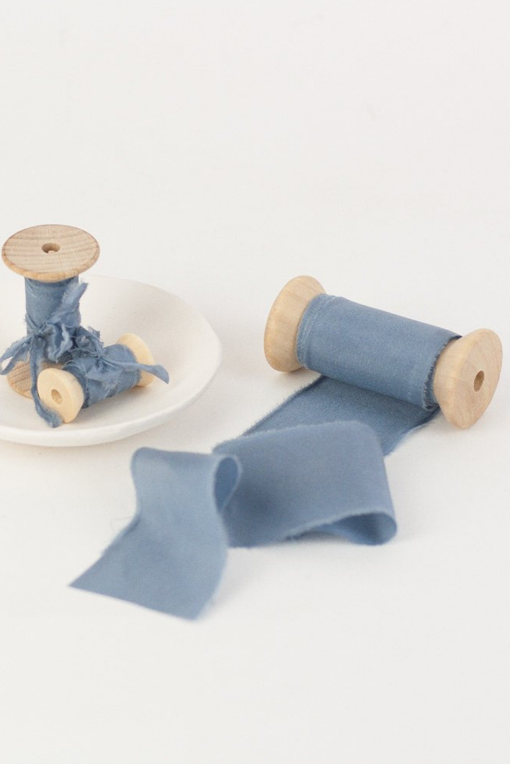 Hand Dyed Silk Ribbon, FRENCH BLUE on Wooden Spool Styling Textiles.png