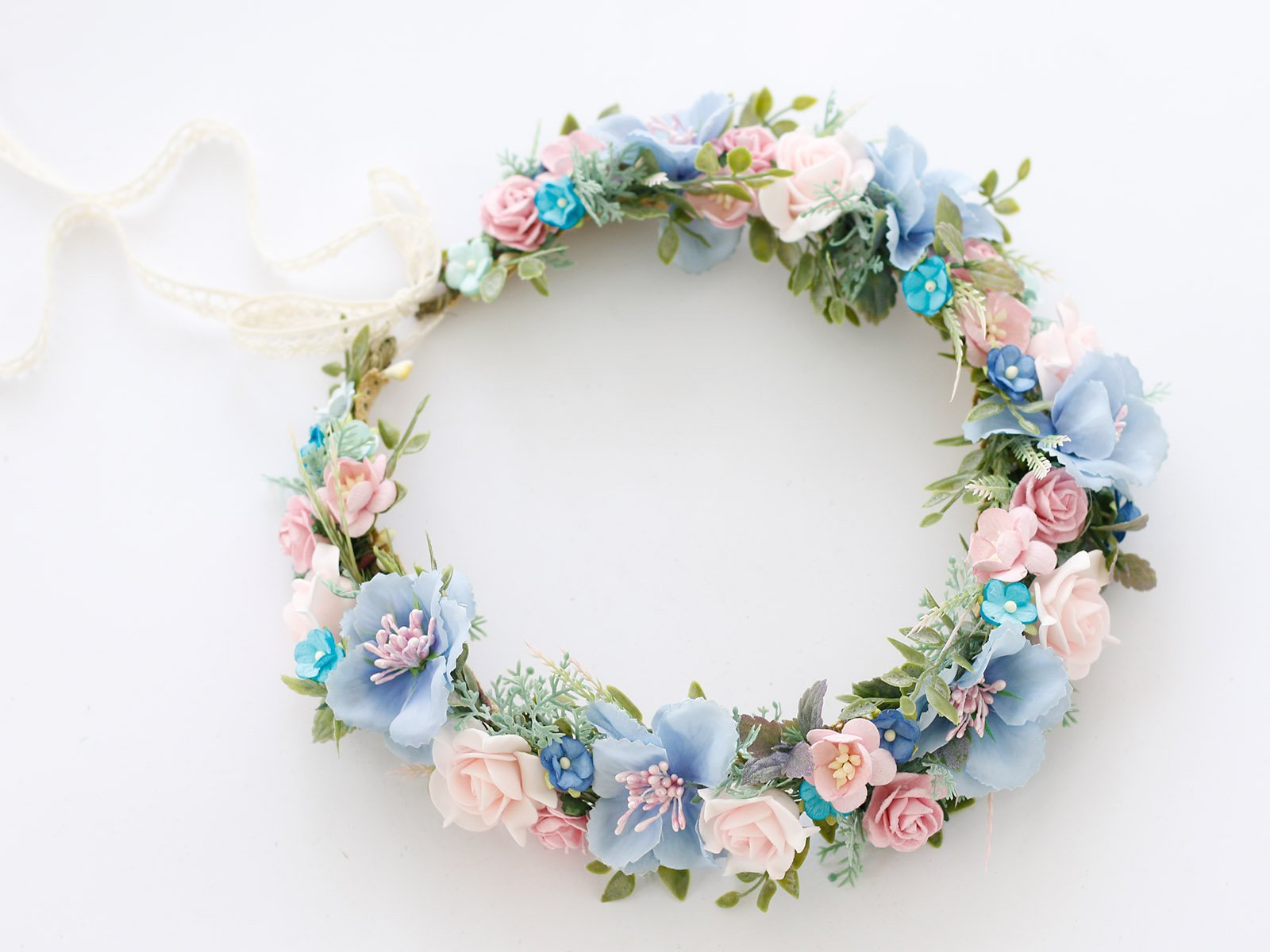 blue blush Wedding flower crown,  headband, bohemian.jpg