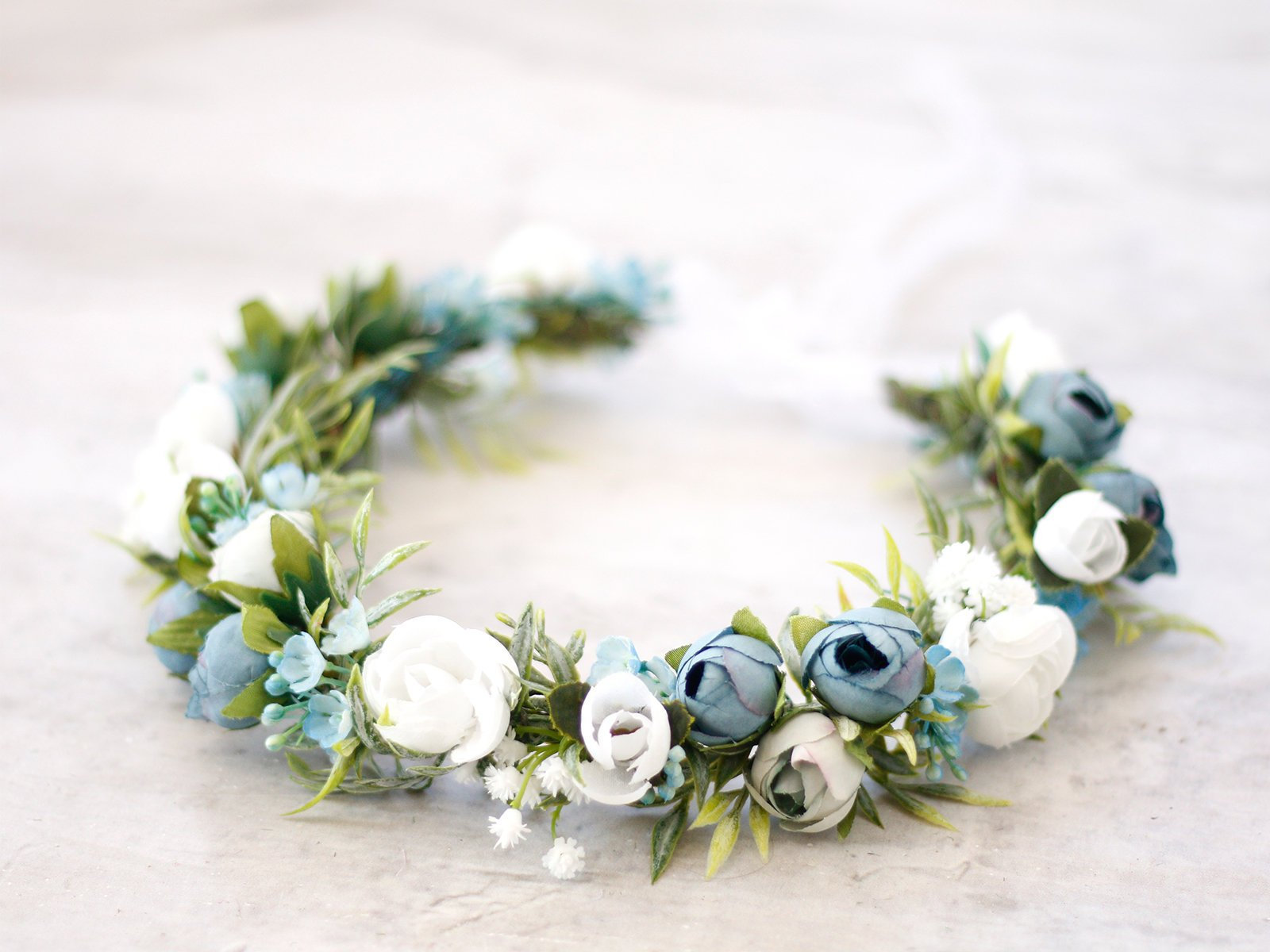Dusty Blue Flower Crown Wedding