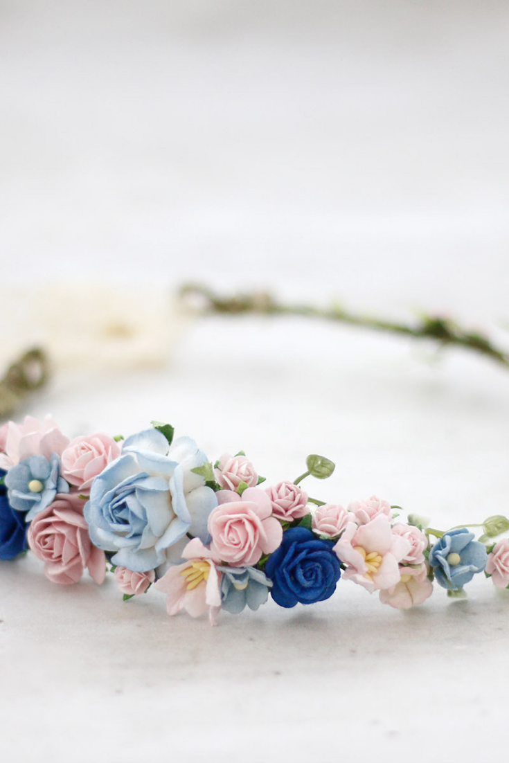 Blush Blue Flower Crown Wedding, Bohemian Floral Crown.png