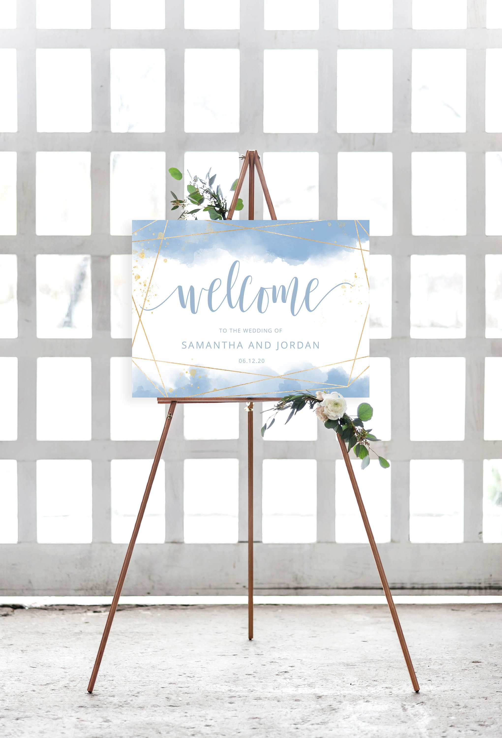 Wedding Welcome Sign INSTANT DOWNLOAD Light Dusty Blue.jpg