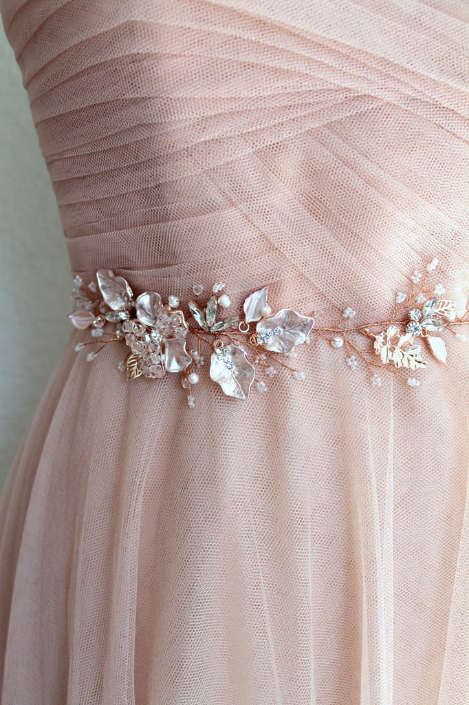 Rose gold Leaf Vine Bridal Sash. Blush Boho Swarovski Crystal Wedding Dress Belt. Rhinestone Pearl Pink Floral Thin Slim Belt.jpg