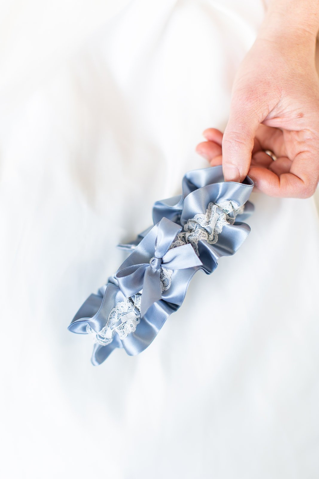 Something Blue Gift for Bride, Dusty Blue and Ivory Wedding Garter, Easy Wedding Gift.jpg