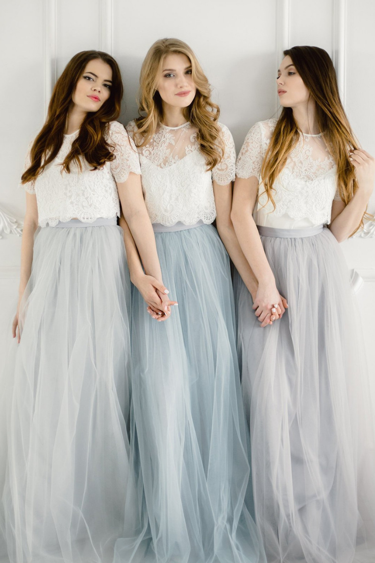 Grey Blue Palette Bridesmaids Belle Lace Dress, Long Grey Dusty Blue Waterfall Bridesmaids Skirt.png