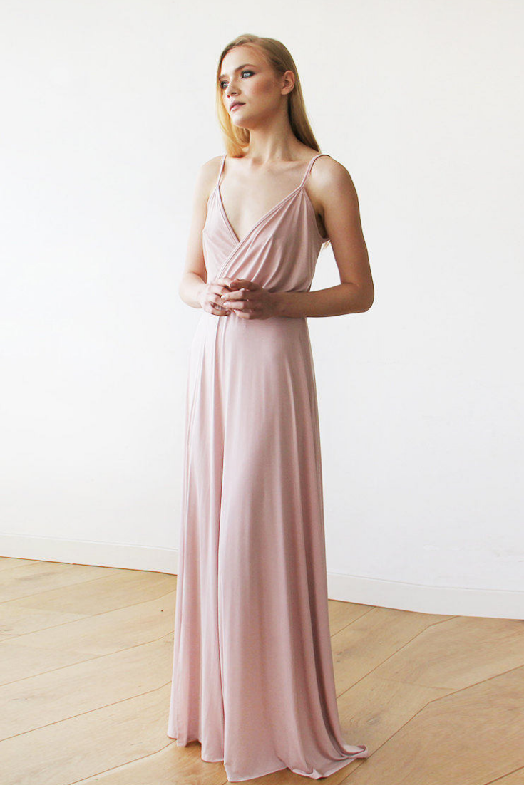 Pink Blush straps wrap gown, Bridesmaids maxi dress with slit.png