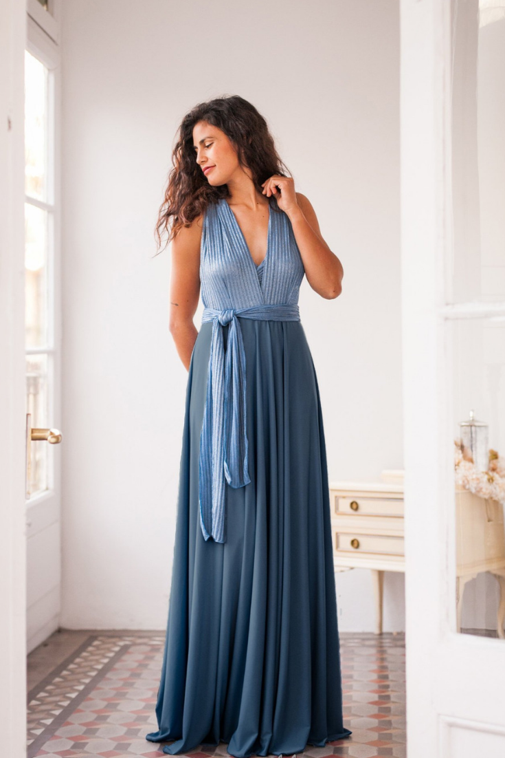 Long blue evening dress, Ribbed jersey infinity dress, Rib knit infinity dress, Blue shiny infinity dress, Indigo blue formal dress.png