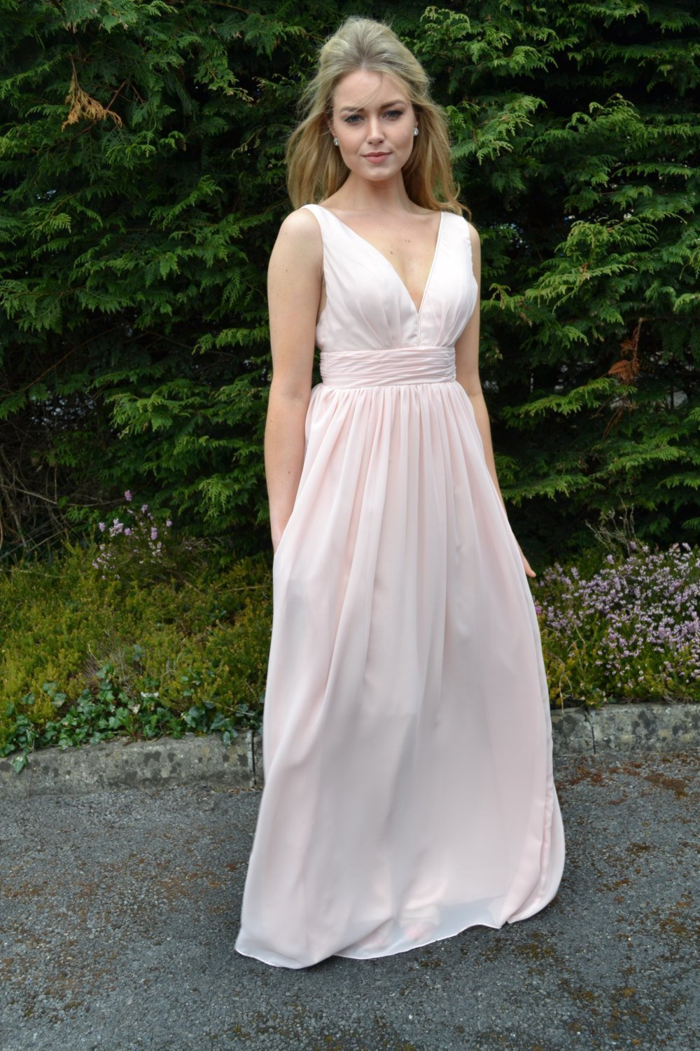 Romantic backless chiffon long bridesmaid or pageant gown:.jpg