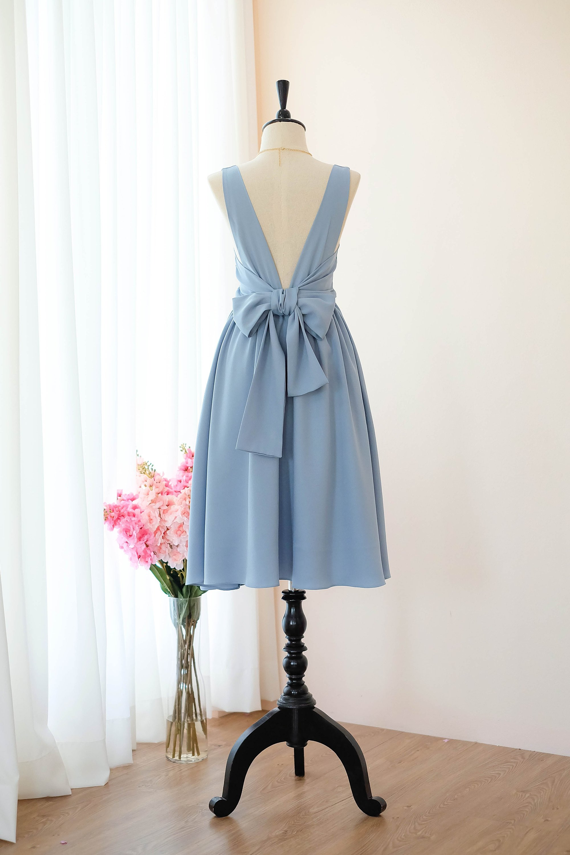 Grayish Blue Bridesmaid dress  Knee length Prom  Formal  cocktail party  evening.jpg