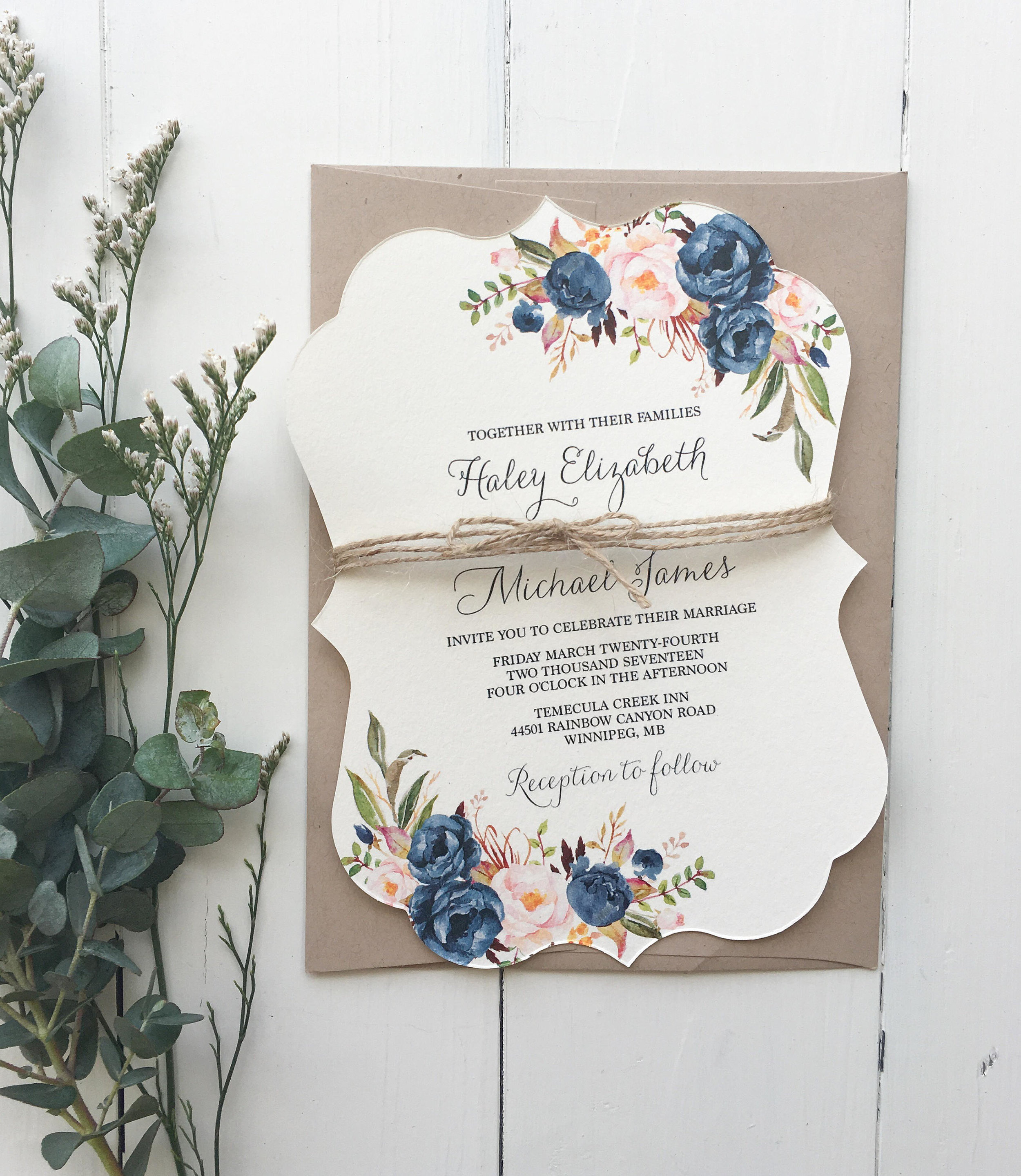 Boho Chic Wedding Invitation, Dusty Blue Wedding Invitation, Blush Pink and blue Invitation, Rustic Floral Invite, Bohemian Wedding.jpg