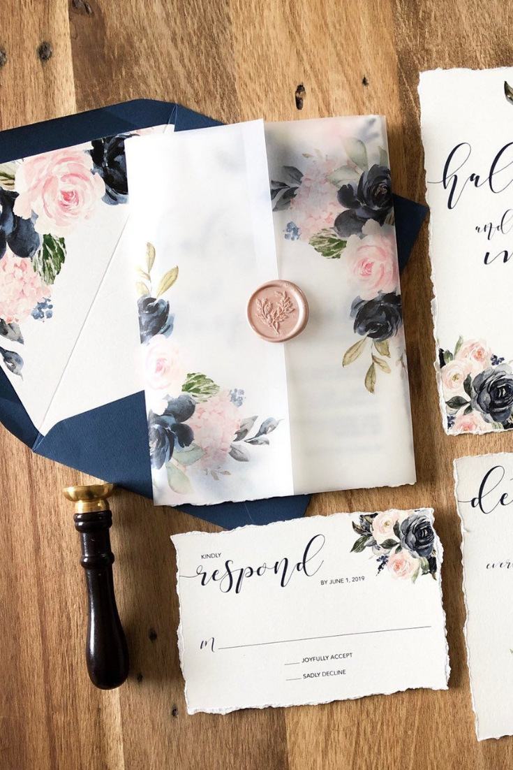 Untitled design (9).pngWatercolor Floral Wedding Invitation Suite, Navy and Blush, Customizable Invites, Translucent Vellum Belly Band