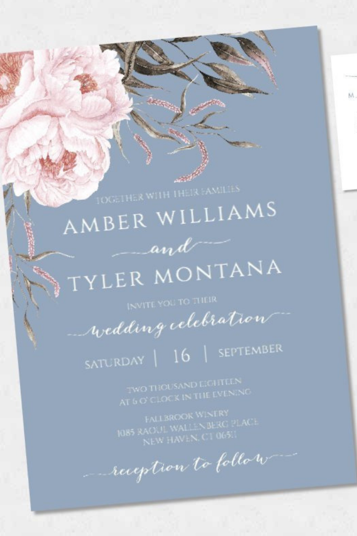 Blue and Blush Wedding Invitation Template, Romantic Wedding Invitation Suite, Printable Wedding Invitation, Editable Dusty Blue & Blush