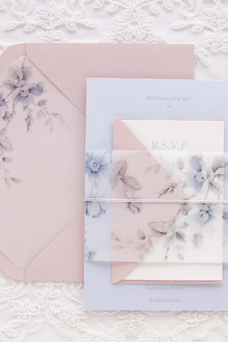 Roses Wedding Invitation, Blush Wedding invitation, Vellum Invitation, Dusty blue and Blush floral Vellum Invitation