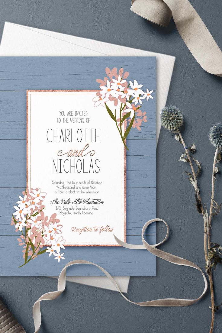 Dusty blue wedding invitation set, Blue wedding, Something blue, rustic wedding invitation, Printable invitation, blush floral wedding