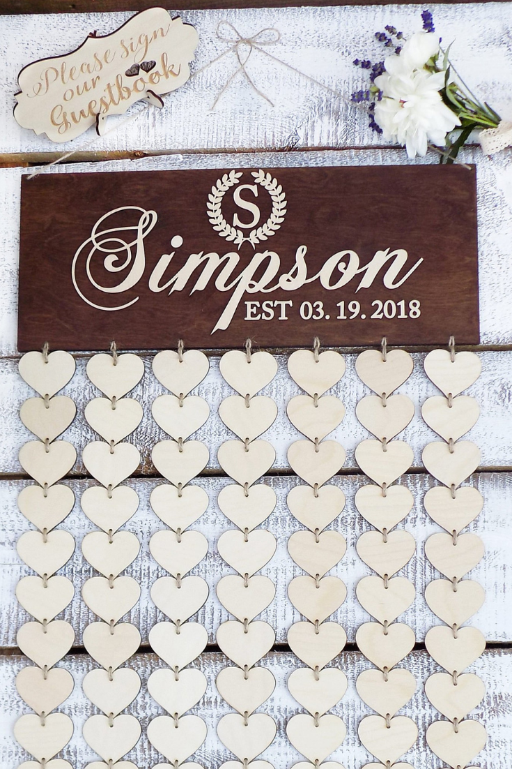 3D Guest Book Wedding Guest Book Alternative Guest Book Wood Hearts.jpg