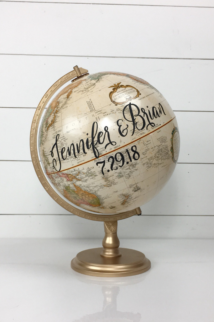 Wedding Guestbook Globe with Custom Calligraphy Message and Travel Theme.png