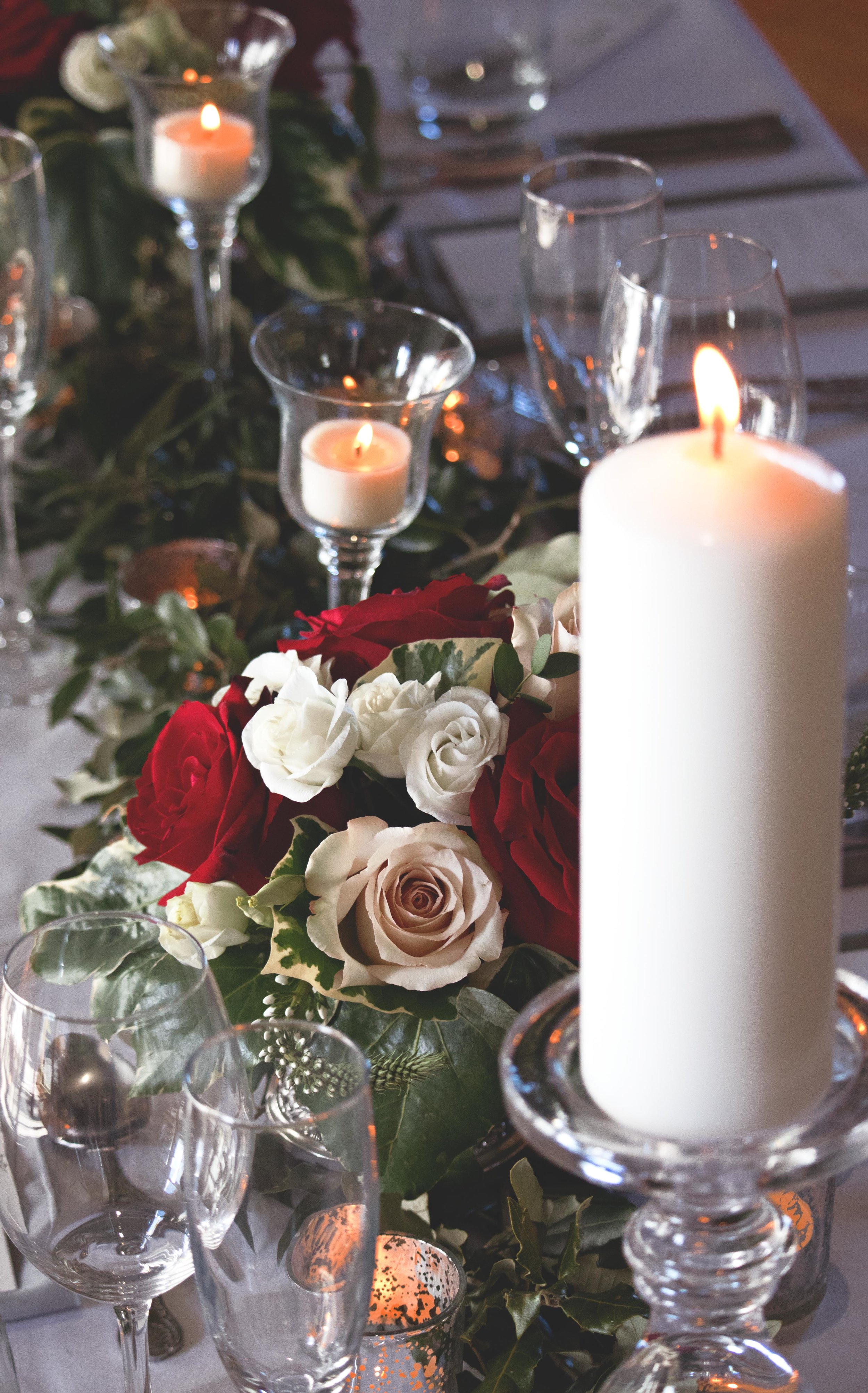 wedding flowers red roses and pale pink roses walton castle wedding inspiration.jpg