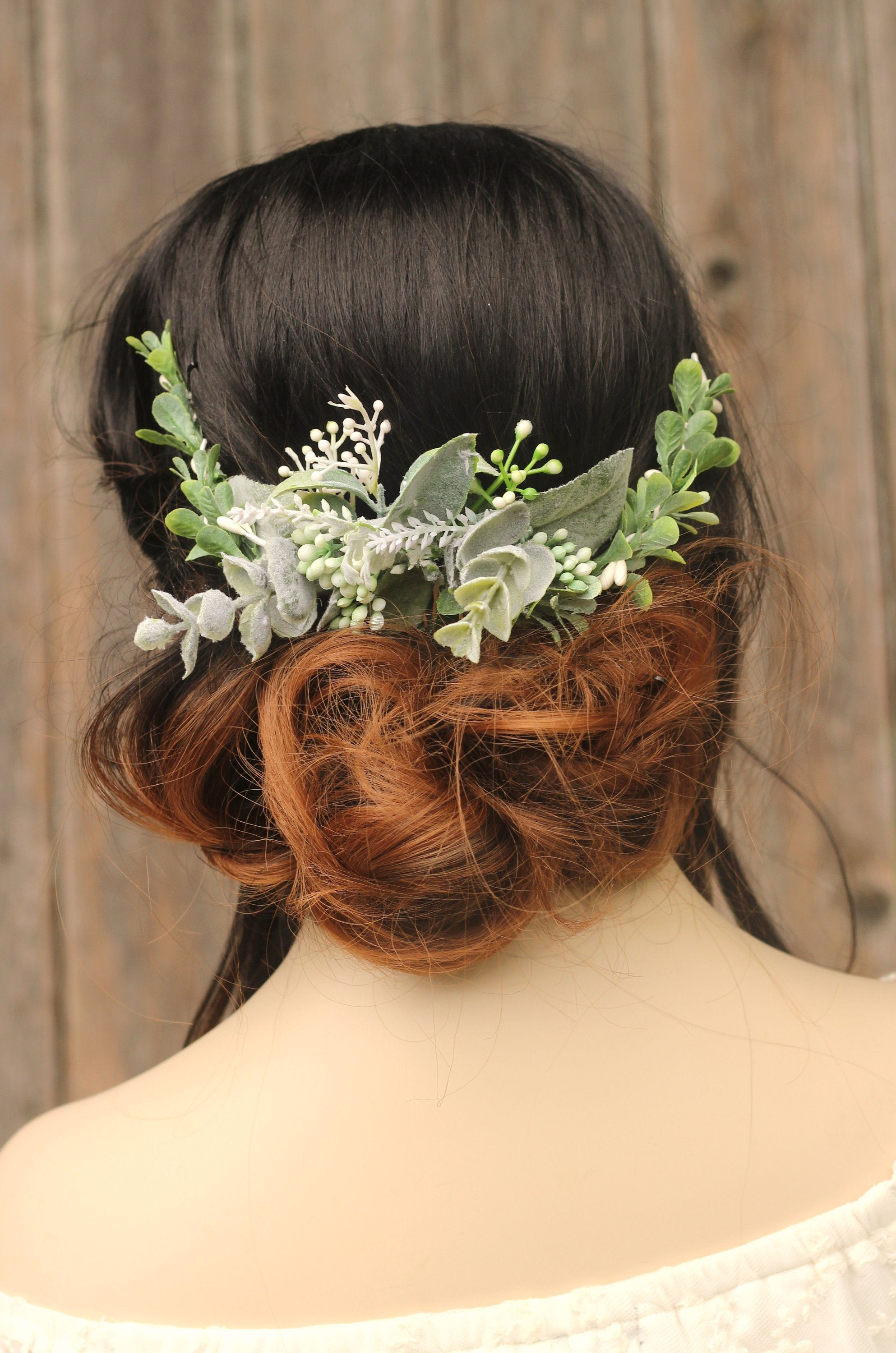 Eucalyptus Hair Comb Pin Greenery Baby Breath Hair Comb Sage Leaf Hair Vine Flower Comb Hair Piece Floral hair pin natural wedding Comb