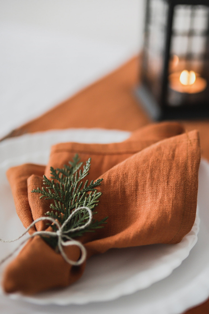 Set burnt orange linen wedding napkins, cloth wedding napkins, washed linen dinner cloth napkins.png