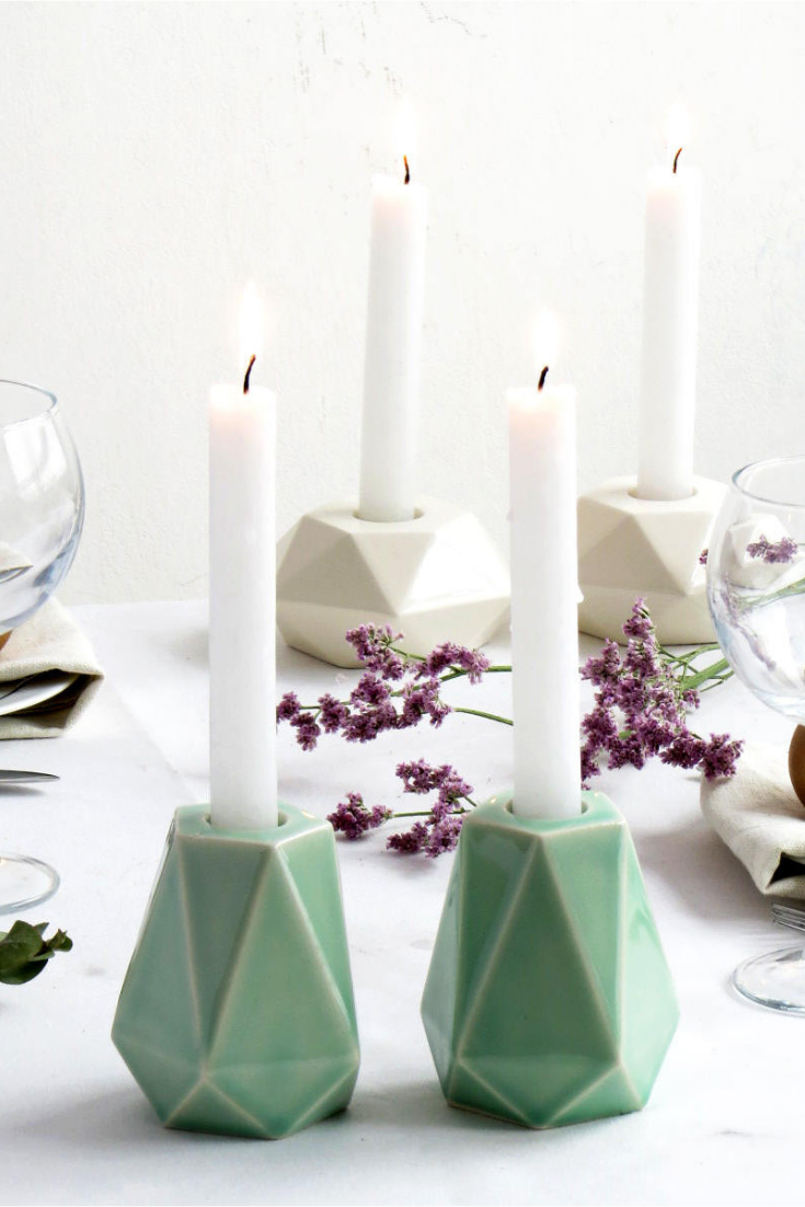 Pale Green Ceramic Shabbat Candlesticks, Geometric Candleolder, Modern Judaica, Made in Israel.png