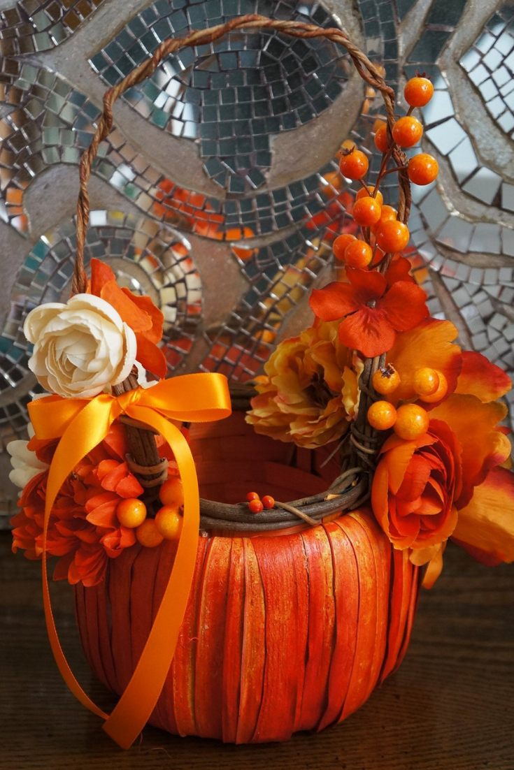 PUMPKIN BASKET Rustic Flower Girl Basket Burnt Orange Roses Peonies Berries Autumn Fall Harvest Weddings Customize