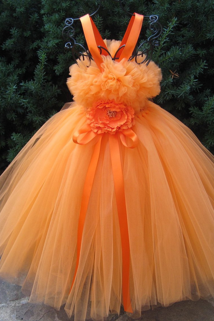 ORANGE TUTU DRESS, Flower Girl Gown, Pageant Girl Dress, Autumn Orange Dress