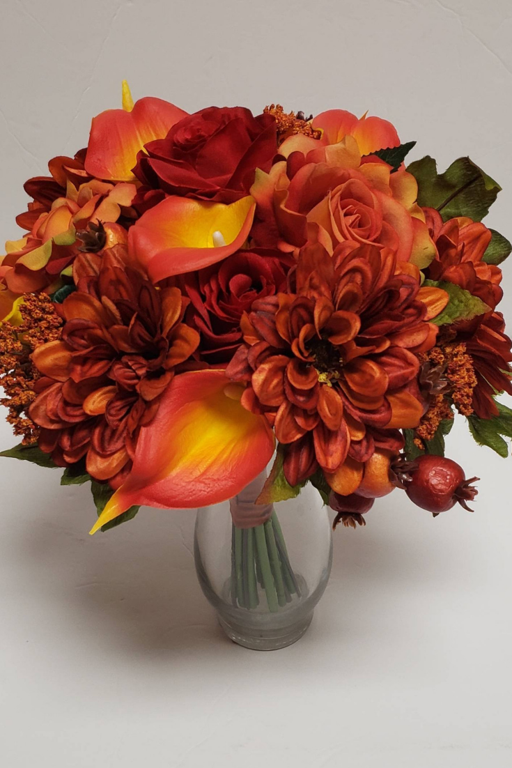 Fall Bridal Bouquet, Artificial Wedding Flowers, Red Roses, Orange Lilies, Orange Roses, Silk Wedding Flowers, Berries, Orange Zinnias.png