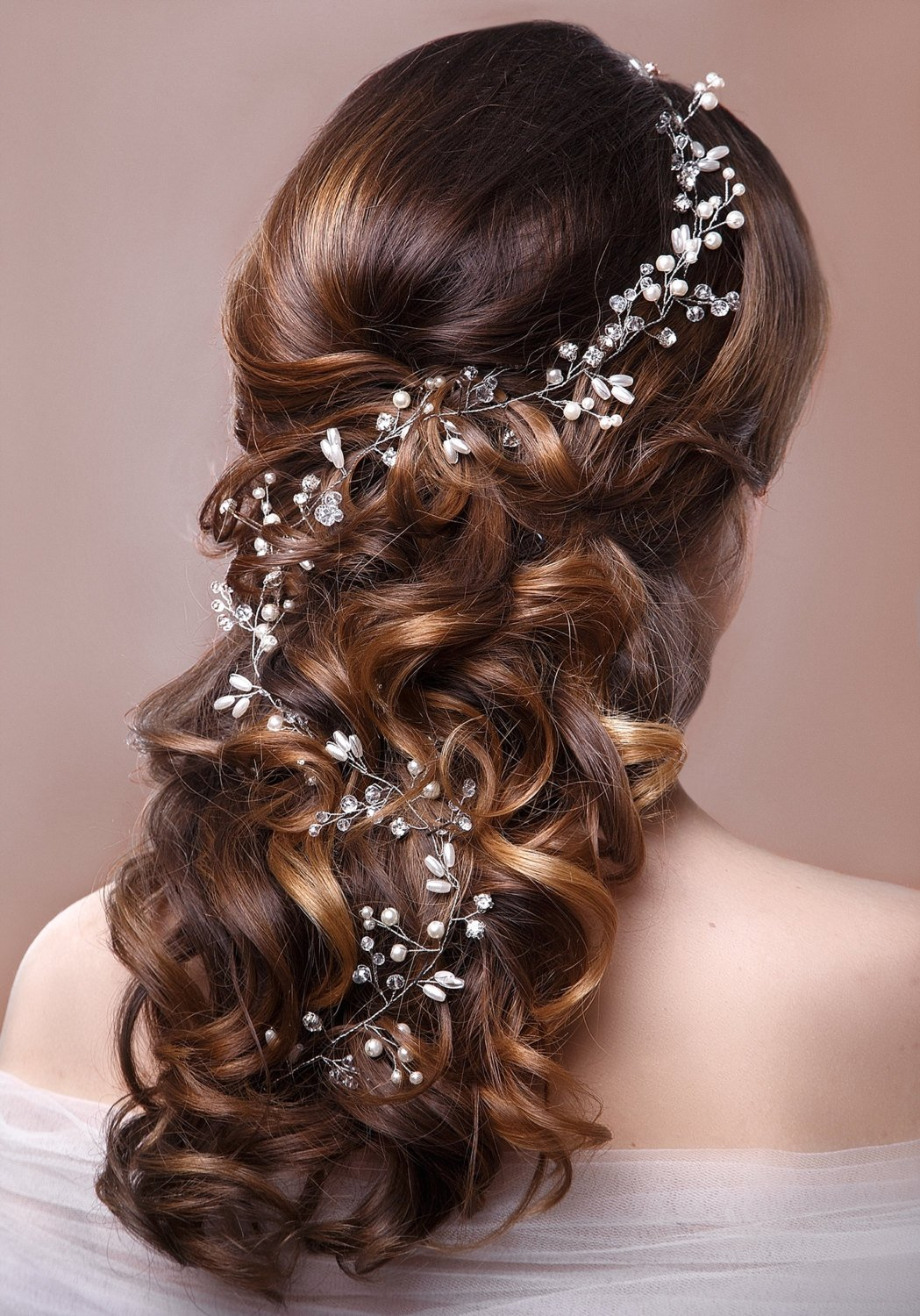 Bridal Hair Vine Wedding Tiara Hairpiece, Headpiece Accessory, Pearl Hair Vine, Greek Style Bridal Braid.jpg