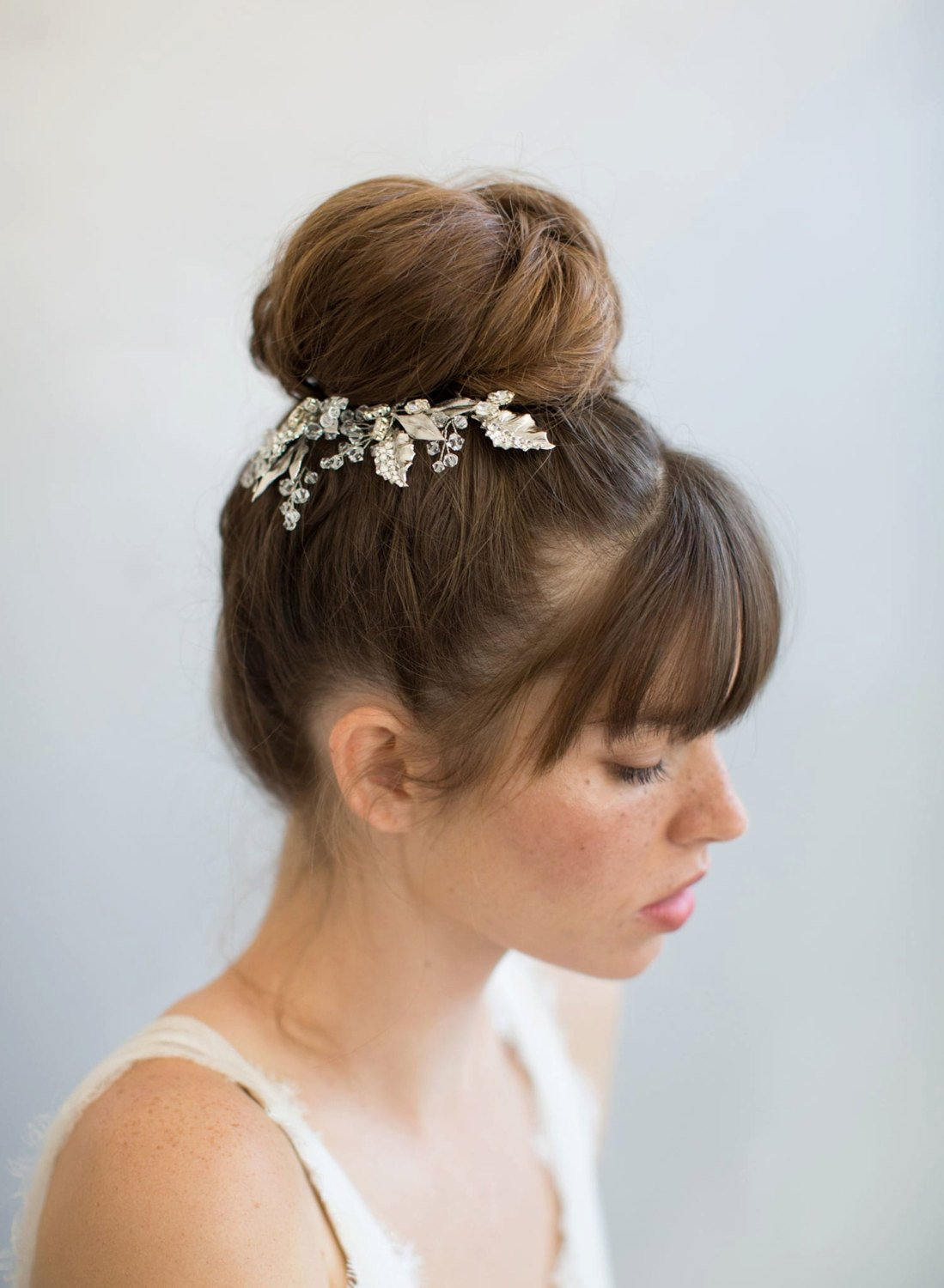 Bridal hair pins Shimmer and shine leaf hair pins top knot bridal hair style.jpg