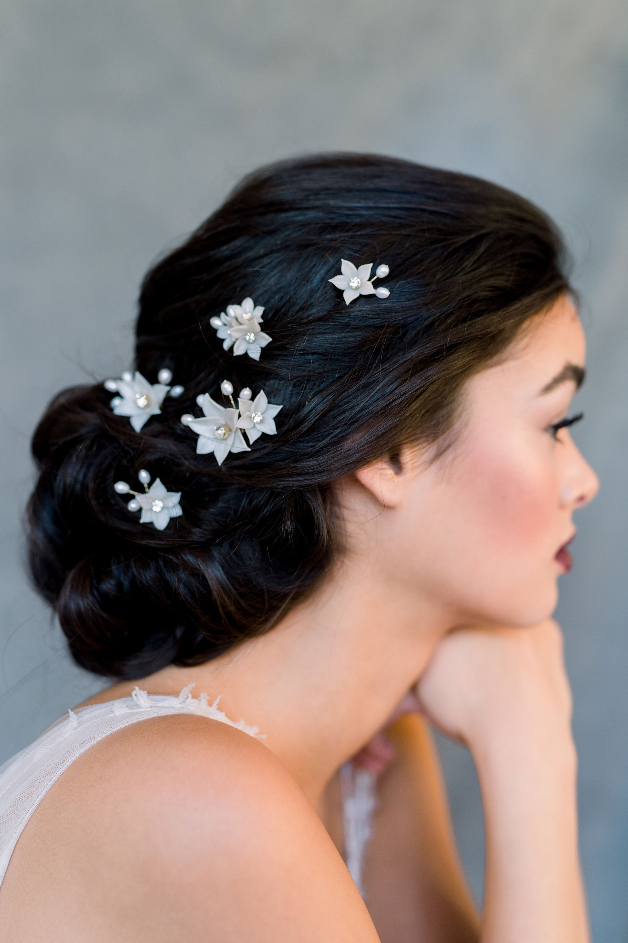 Ivory Flower Hair Pins Set, Pearl Bridal Modern, Rose Gold Crystal Headpiece, Wedding updo bridal hairstyle.jpg