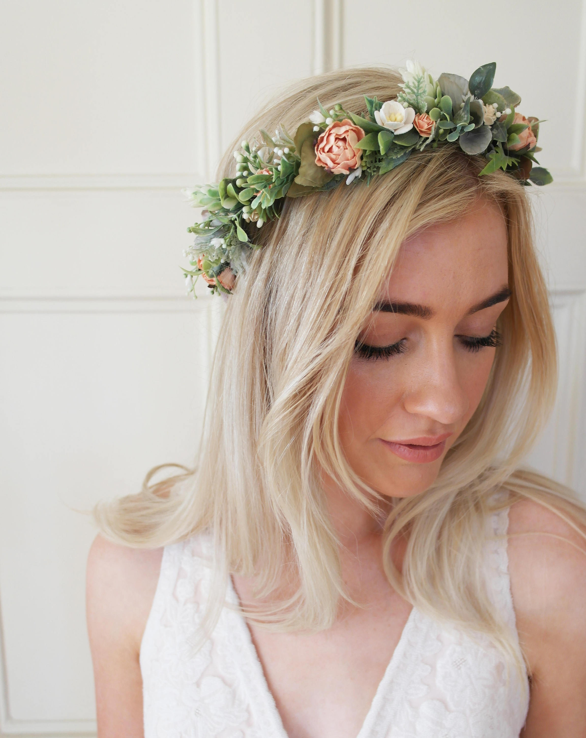 Coral flower crown, Boho wedding, bohemian bridal hairstyle.jpg