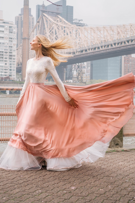 Wedding dress with long sleeves and blush satin skirt,.jpg